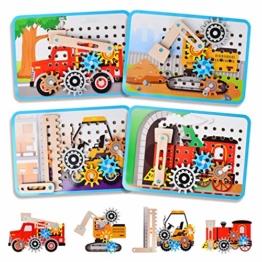 LUKAT Holzpuzzle für Kinder, 3D Holzspielzeug Puzzle von 4 Automuster für Jungen und Mädchen Lernspielzeug Pädagogisches Geschenk für Kinder ab 3 4 5 6 Jahre - 1