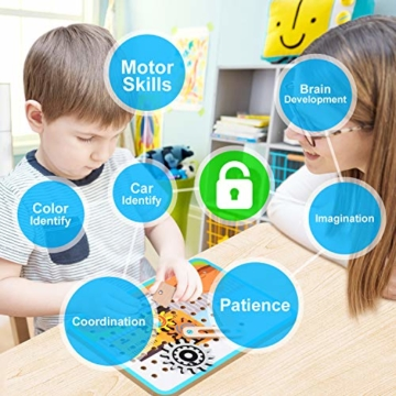 LUKAT Holzpuzzle für Kinder, 3D Holzspielzeug Puzzle von 4 Automuster für Jungen und Mädchen Lernspielzeug Pädagogisches Geschenk für Kinder ab 3 4 5 6 Jahre - 4