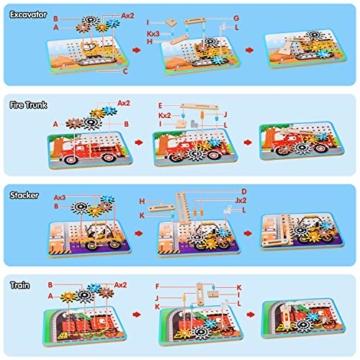 LUKAT Holzpuzzle für Kinder, 3D Holzspielzeug Puzzle von 4 Automuster für Jungen und Mädchen Lernspielzeug Pädagogisches Geschenk für Kinder ab 3 4 5 6 Jahre - 6
