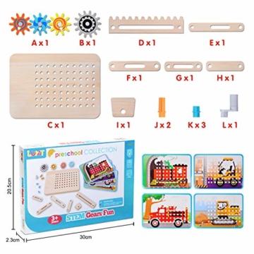 LUKAT Holzpuzzle für Kinder, 3D Holzspielzeug Puzzle von 4 Automuster für Jungen und Mädchen Lernspielzeug Pädagogisches Geschenk für Kinder ab 3 4 5 6 Jahre - 7
