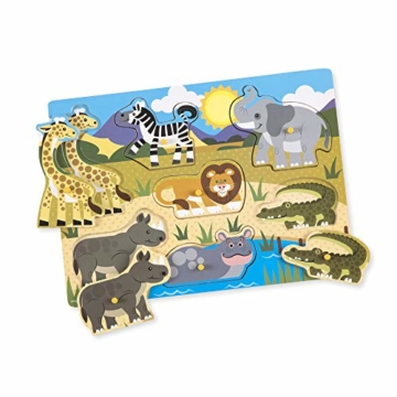 Melissa & Doug Steckpuzzle aus Holz - Safaritiere (7 Teile) - 2