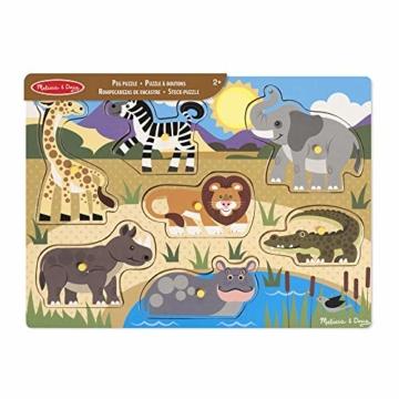 Melissa & Doug Steckpuzzle aus Holz - Safaritiere (7 Teile) - 5