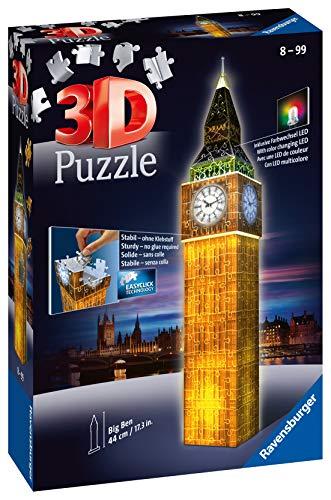Ravensburger 3D Puzzle Big Ben bei Nacht mit 216 Teilen, für Kinder und Erwachsene, Wahrzeichen von London im Miniatur-Format, Leuchtet im Dunkeln - 2