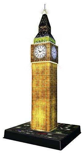 Ravensburger 3D Puzzle Big Ben bei Nacht mit 216 Teilen, für Kinder und Erwachsene, Wahrzeichen von London im Miniatur-Format, Leuchtet im Dunkeln - 3