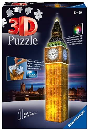 Ravensburger 3D Puzzle Big Ben bei Nacht mit 216 Teilen, für Kinder und Erwachsene, Wahrzeichen von London im Miniatur-Format, Leuchtet im Dunkeln - 1