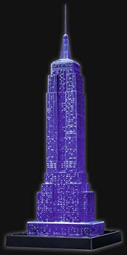 Ravensburger 3D Puzzle Empire State Building bei Nacht, für Kinder und Erwachsene, Wahrzeichen von New York im Miniatur-Format, Leuchtet im Dunkeln - 12