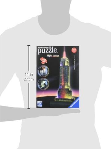 Ravensburger 3D Puzzle Empire State Building bei Nacht, für Kinder und Erwachsene, Wahrzeichen von New York im Miniatur-Format, Leuchtet im Dunkeln - 15