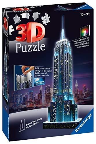 Ravensburger 3D Puzzle Empire State Building bei Nacht, für Kinder und Erwachsene, Wahrzeichen von New York im Miniatur-Format, Leuchtet im Dunkeln - 5