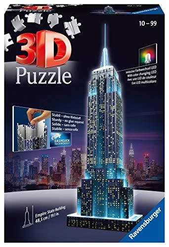 Ravensburger 3D Puzzle Empire State Building bei Nacht, für Kinder und Erwachsene, Wahrzeichen von New York im Miniatur-Format, Leuchtet im Dunkeln - 1