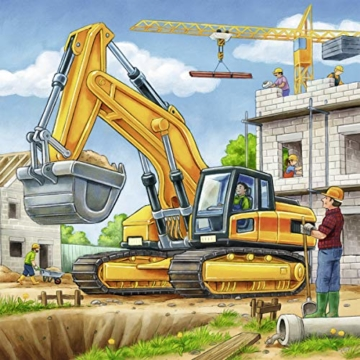 Ravensburger Kinderpuzzle 09226 - Große Baufahrzeuge - 3 x 49 Teile - 6