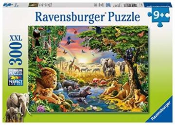 Ravensburger Kinderpuzzle 13073 - Abendsonne am Wasserloch - 300 Teile - 1