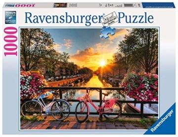 Ravensburger Puzzle 1000 Teile Fahrräder in Amsterdam - Farbenfrohes Puzzle für Erwachsene und Kinder in bewährter Ravensburger Qualität - 1