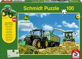 Schmidt Spiele 56044 John Deere, 7310R mit 8600i Feldhäcksler, 100 Teile Puzzle, mit Siku Traktor - 1