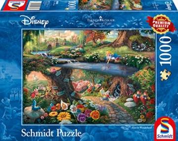 Schmidt Spiele 59636 Thomas Kinkade, Disney, Alice im Wunderland, 1000 Teile Puzzle, Bunt - 1