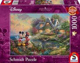 Schmidt Spiele 59639 Thomas Kinkade, Disney-Sweethearts Mickey & Minnie, 1.000 Teile Puzzle, Bunt - 1