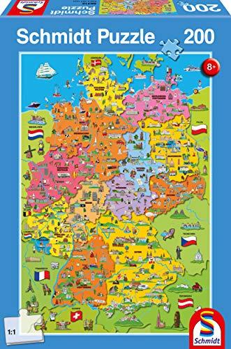Schmidt Spiele Puzzle 56312 Deutschlandkarte mit Bildern, 200 Teile Kinderpuzzle, bunt - 1