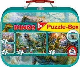 Schmidt Spiele Puzzle 56495 Dinosaurier, Puzzle-Box im Metallkoffer, 2x60 und 2x100 Teile Kinderpuzzle, bunt - 1