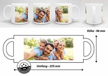 Tasse selbst individuell gestalten/Personalisierbar mit eigenem Foto Bedrucken/Fototasse/Motivtasse/Werbetasse/Firmentasse mit Logo/Weiss - Glanz - 6
