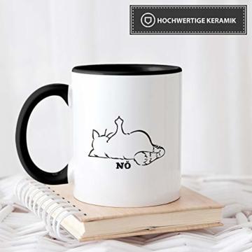 Tassendruck Katzen-Tasse mit Spruch Nö - Cat/Tier/Geschenk-Idee/Fellnase/Innen & Henkel Schwarz - 3