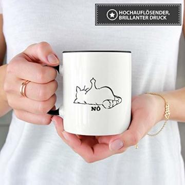 Tassendruck Katzen-Tasse mit Spruch Nö - Cat/Tier/Geschenk-Idee/Fellnase/Innen & Henkel Schwarz - 4