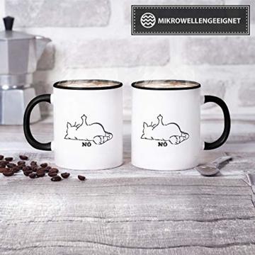 Tassendruck Katzen-Tasse mit Spruch Nö - Cat/Tier/Geschenk-Idee/Fellnase/Innen & Henkel Schwarz - 5
