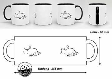Tassendruck Katzen-Tasse mit Spruch Nö - Cat/Tier/Geschenk-Idee/Fellnase/Innen & Henkel Schwarz - 7