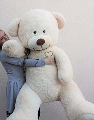 Teddybär Plüschbär Kuscheltier Stofftier Schmusebär Teddy Geschenkidee 190cm (Beige) - 2