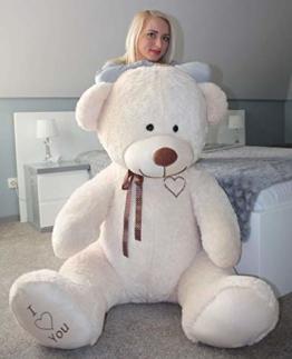 Teddybär Plüschbär Kuscheltier Stofftier Schmusebär Teddy Geschenkidee 190cm (Beige) - 1