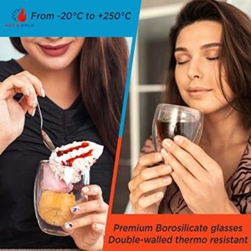 Tempery✮ Doppelwandige Gläser/Latte Macchiato Gläser/Cappuccino Tassen - 250ml - Set aus 6 Doppelwandige Kaffeegläser - Original Teegläser & perfekt Geschenk für Jede Gelegenheit - 3