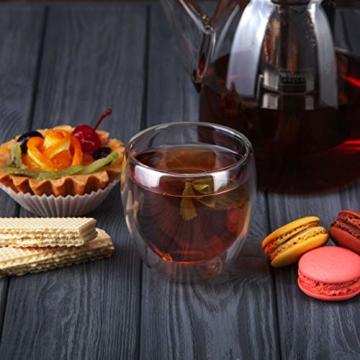 Tempery✮ Doppelwandige Gläser/Latte Macchiato Gläser/Cappuccino Tassen - 250ml - Set aus 6 Doppelwandige Kaffeegläser - Original Teegläser & perfekt Geschenk für Jede Gelegenheit - 4