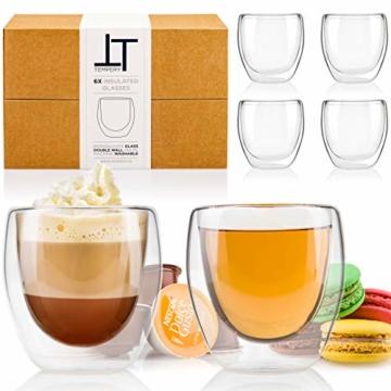 Tempery✮ Doppelwandige Gläser/Latte Macchiato Gläser/Cappuccino Tassen - 250ml - Set aus 6 Doppelwandige Kaffeegläser - Original Teegläser & perfekt Geschenk für Jede Gelegenheit - 1