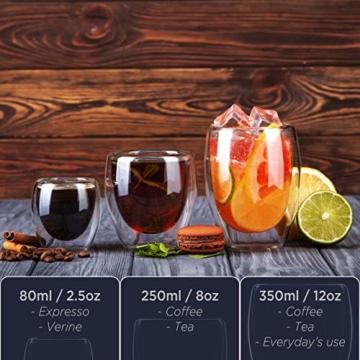 Tempery✮ Doppelwandige Gläser/Latte Macchiato Gläser/Cappuccino Tassen - 250ml - Set aus 6 Doppelwandige Kaffeegläser - Original Teegläser & perfekt Geschenk für Jede Gelegenheit - 5