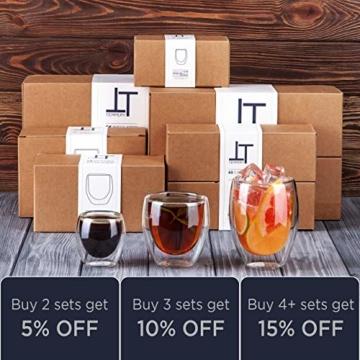 Tempery✮ Doppelwandige Gläser/Latte Macchiato Gläser/Cappuccino Tassen - 250ml - Set aus 6 Doppelwandige Kaffeegläser - Original Teegläser & perfekt Geschenk für Jede Gelegenheit - 7