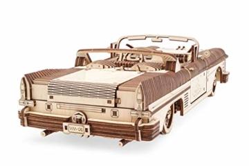 UGEARS 3D Puzzle für Erwachsene Traum Cabrio Technisches Modell Holzpuzzle Denksport Modellbau Bausätze für Erwachsene DIY Puzzle Lernspielzeug für Kinder Holzkunst Cabriolet Auto Baukasten Set - 5