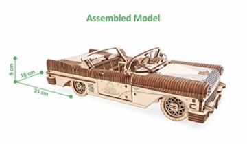 UGEARS 3D Puzzle für Erwachsene Traum Cabrio Technisches Modell Holzpuzzle Denksport Modellbau Bausätze für Erwachsene DIY Puzzle Lernspielzeug für Kinder Holzkunst Cabriolet Auto Baukasten Set - 6