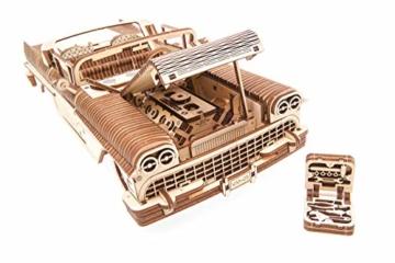 UGEARS 3D Puzzle für Erwachsene Traum Cabrio Technisches Modell Holzpuzzle Denksport Modellbau Bausätze für Erwachsene DIY Puzzle Lernspielzeug für Kinder Holzkunst Cabriolet Auto Baukasten Set - 7