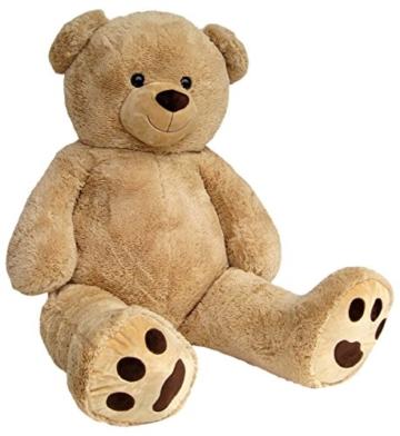 Wagner 9051 - Riesen XXL Teddybär 160 cm groß in hell-braun - Plüschbär Kuschelbär Teddy Bär in beige 1,60 m - 2